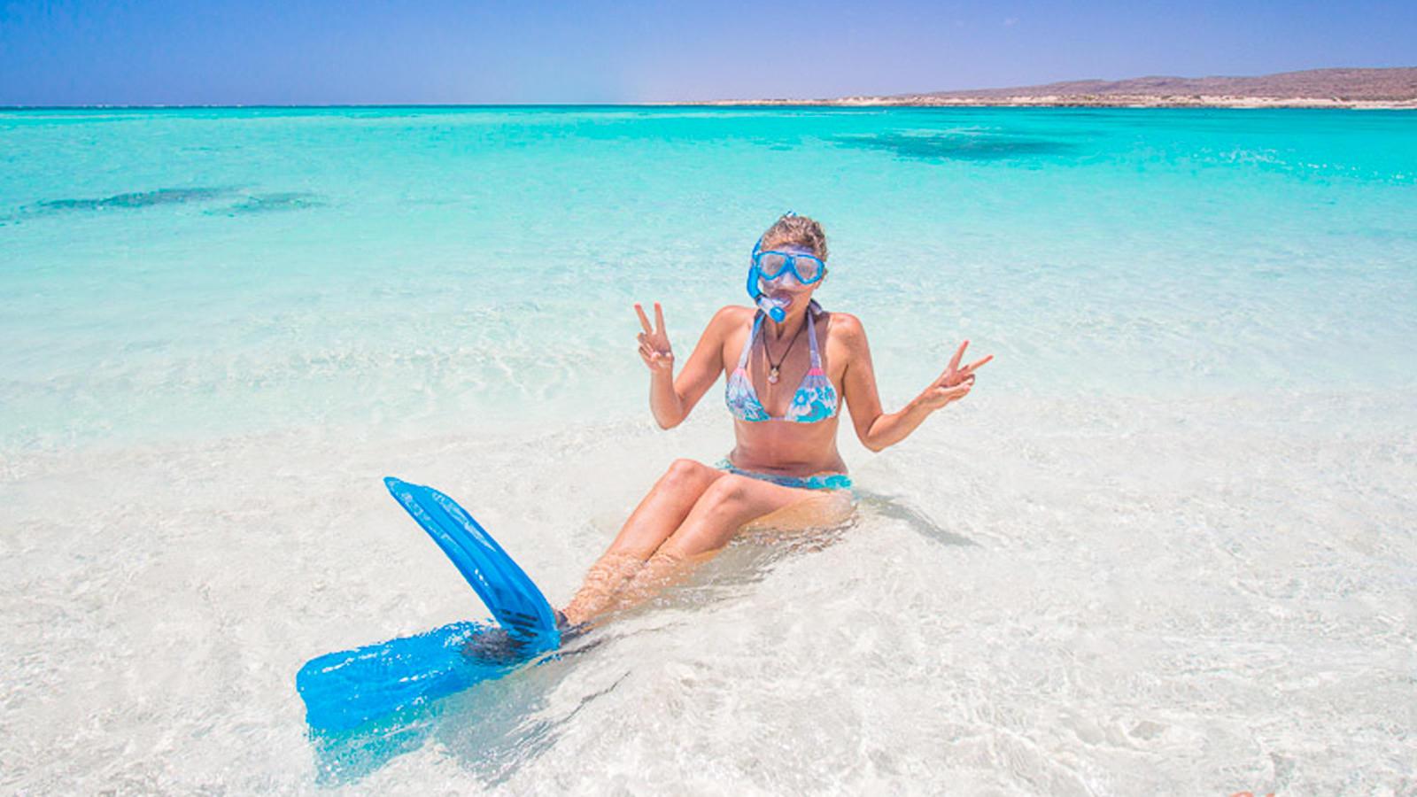 Woman in ocean
