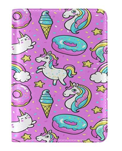 WOZO Unicorn Rainbow Donut Passport Holder Cover Case Travel 1 Pocket