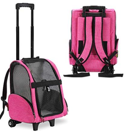 KOPEKS Deluxe Backpack Pet Travel Carrier with Double Wheels